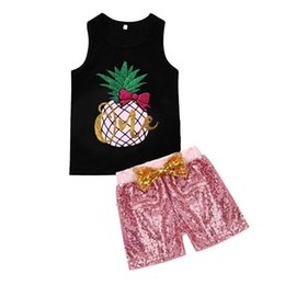 $enCountryForm.capitalKeyWord UK - Girls Pineapple Tank Tops+Sequin Pnats Outfits Summer Kids Boutique Clothing Euro America 2-7Y Little Girls Black Vest Shorts 2 PC Set