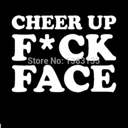 $enCountryForm.capitalKeyWord Australia - HotMeiNi Wholesale 20pcs lot New ! Cheer Up Fck Face Funny Car Sticker For Truck Window Bumper SUV Door Kayak Vinyl Decal