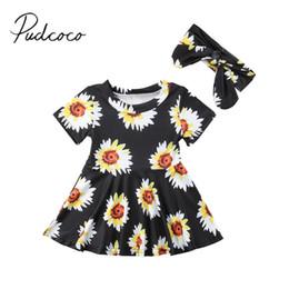 b2a0108f173 2018 Brand New Newborn Toddler Infant Baby Girls Clothes Summer Dress  Sunflower Dress Headband 2Pcs Short Sleeve Sundress 0-24M