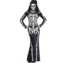 women s skeleton costumes UK - New Arrival Womens Ladies Theme Costume Halloween Skeleton Skull and Bone Print Bodycon Long Sleeve Cosplay Dress Tunic DK5560HY