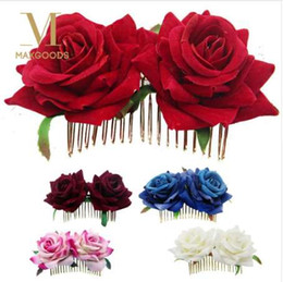 Roses For Hair Australia - 1Pcs White Red Rose Flower Hair Combs for Bridal Fashion Handmade Wedding Jewelry Women Prom Headpiece Charm Hair Accessories