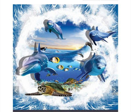 $enCountryForm.capitalKeyWord Australia - Self-adhesive Waterproof Flooring Wall Sticker Customized 3D wallpaper floor painting wall paper Ocean World Dolphin Sea 3D Stereo Floor