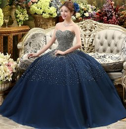 Vestidos De Fiesta New Dark Blue High Grade Sequins Sexy Tube Top Dresses Tulle Large Hand Beaded Pants Skirt Prom Dresses Dh1617