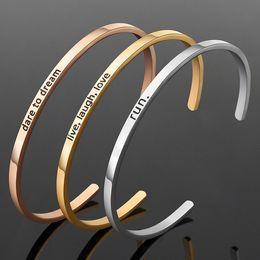 $enCountryForm.capitalKeyWord NZ - BC Rose Gold Plating Color 316L Stainless Steel Engraved Design Womens Men Cuff Bracelet Provide Custom