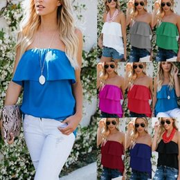 $enCountryForm.capitalKeyWord NZ - Women Casual Tube Top Chiffon Strapless Blouse Ruffle Solid Color T Shirt Summer Clothes White Black Green Blue Pink Burgundy Rose Red