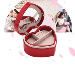 earring pieces NZ - Novelty Heart-Shaped Jewelry Boxes With Mirror Women's Leather Stud Earrings Gift Box 4 color Cosmetic Bags