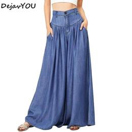 35e7280d2a 2018 Summer Plus Size pantalones de pierna ancha Jeans Female pantalones de  mezclilla suelta overSize Casual Palazzo Pants mujer