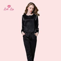 $enCountryForm.capitalKeyWord Australia - Lick Lip Spring Pajamas Pijama Feminino Satin Button Long Sleeve Pants Set Sleepwear Females Silk Night Suit Ladies SWC3229-47