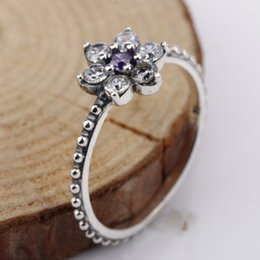 Wholesale Real Sterling Silver Rings Forget Me Not Purple White Clear CZ Finger Rings for Women Wedding Gift