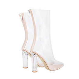 b5730b09e12 Fashion Design Runway Clear Shoes Women Plus Size Botas Feminina Pointed  Toe Crystal Perspex Block High Heels Summer Transparent Ankle Boots