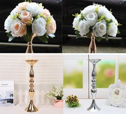 Discount iron cake stands - Wedding photo props 20pcs Iron Flower vase candle holder stand 20pcs silk flower wedding table centerpieces Decor table