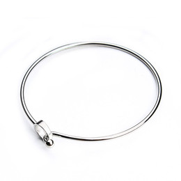 Silver Bracelet Blanks Cuff UK - 2pcs lot Stainless Steel Clasp Cuff Bangle Bracelets Blanks Silver Tone Hook Charm Wire Bangle Bracelet Base Setting F3696