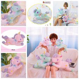 christmas novelty gifts items 2019 - 35cm Unicorn Doll cartoon Plush Toys Unicorn Pillow Rag Doll Valentine Day Christmas Gift kids toy home decor Novelty It