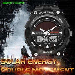 Solar Powered Waterproof Watch NZ - Watches Men Waterproof Solar Power  Sports Casual Watch Man Men s d0b39b856485