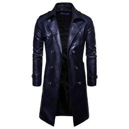$enCountryForm.capitalKeyWord UK - 2018 New Mens Fashion Long Sleeve Faux Leather Waist Belt Plaid Trench Double Breasted Slim Fit Long Overcoat Urban Clothin