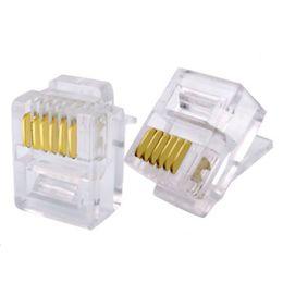 50 unids / lote RJ12 Conector 6P6C Modular Crystal Head Gold-plated Plug Crimp Red Teléfono Conectores Transparentes YS-235