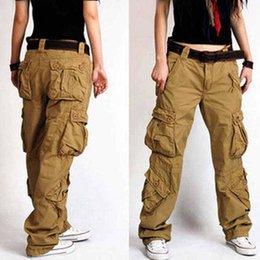 Wholesale hip hop women overall pants for sale – dress Baggy Pants colors New Arrival Plus Size Cargo Pants Thick overalls pockets Hip Hop Women Hip Hop Loose Jeans khaki S50