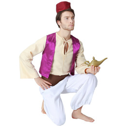 aladdin cosplay 2019 - Adult Magic Lamp Prince Aladdin Costumes Purple Vest White Pant Show Halloween Masquereade Party Cosplay For Men cheap a