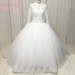 $enCountryForm.capitalKeyWord NZ - Real Picture Wedding Dresses 2018 Crew Neckline Lace Appliques Beading Sequins Ball Gown Puffy Court Train Lace Bridal Dresses