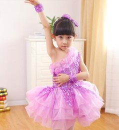 Yarn costume online shopping - 2017 New style children Cosplay princess perform clothing Yarn skirt girls Sequins Dance Conjoined clothes