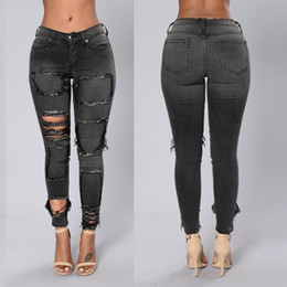 Wholesale low rise jeans for sale - Group buy Black Womens Skinny Ripped Jeans Low Rise Vintage Fashion Slim Fit Distressed Hole Denim Jeans S XL