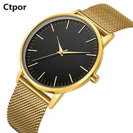 Wrist Watches Logos Australia - Top Men Watch No Logo Ctpor Brand Design Male Stainless Steel Watchband Black Quartz Clock Fashion Gold Man Wrist Watches FD1298