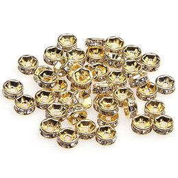 gold rhinestone bead spacers NZ - 1000pcs Lot 18K White Gold Plated Gold Silver Color Crystal Rhinestone Rondelle Beads Loose Spacer Beads for DIY Jewelry Making Wholesale