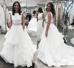 Simple A Line Two Piece Wedding Dresses 2018 Backless Chiffon Tiered Skirts  Sleeveless Sweep Train Bridal Gown Outdoor Garden Style