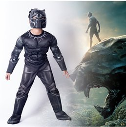 Discount avengers clothes kids - Boys Halloween Black Panther muscle style Cosplay suits 2018 New Kids Avengers costume cosplay clothes + mask 2pcs sets