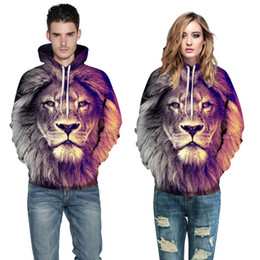 Chinese  Fashion Unisex plush Lovers Spring Sweatshirts Male Lion 3D digital printing thin Hoodie General Loose type Baseball jackets,Plus size manufacturers