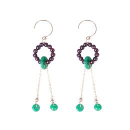 6363fb731cef Pendientes de gota largos hechos a mano originales para mujeres Natural  AgateGarnet Pendientes de piedra de gemas Band joyas de moda para venta al  por mayor