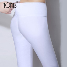 $enCountryForm.capitalKeyWord NZ - Nonis High Waist Women Skinny Leggings 2018 Candy Color Stretch Plus Size Female Pencil Pants Ladies Leggings Plus Size 6XL S18101506
