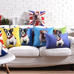 Wholesale Pug Dog Cushion Cover Styles England Flag Car Red Blue Yellow Color Soft Pillow Covers Pillow Cases Bedroom Sofa Decor