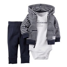 Navy cardigaNs online shopping - Baby Boys Girls Clothes Set Baby Boy Clothes Cotton Hoodie Cardigan Pants Body Suit Piece Outfits Newborn Kids Clothing Sets