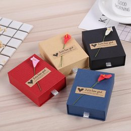 Wholesale Boxes Packaging Australia - Four Optional Colors Jewelry Boxes 20pcs lot ring earrng pendant bracelet necklace gift packaging paper box