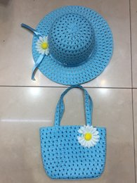 $enCountryForm.capitalKeyWord NZ - 9 colors Straw Hat+Straw Handbag 2pcs lot cute sunflower flower cap Children sunhat baby girls Casual Beach Sun for kids