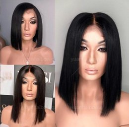 Longest Hair NZ - Long Bob Wigs Natural Black Color Full Lace Wig Malaysian Virgin Human Hair Lace Front Wig Grey Bob Wigs for Woman