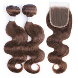 $enCountryForm.capitalKeyWord Australia - Raw Virgin Indian Wavy Human Hair Extensions 2 Bundles With Lace Closure Color 4 Chocolate Brown Body Wave Hair Bundles