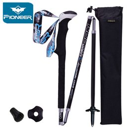 Wholesale New Arrivals Carbon Folding Sticks Quick Lock Compact Ultra light Camping Hiking Walking Stick Alpenstock Trekking cane