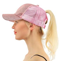 Glitter Ponytail Baseball Caps 2018 Women Summer Snap-Back Hats Mesh Bun Mesh  Hats Casual Adjustable Outwork Caps 24dd37da439a