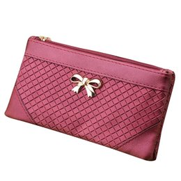 Discount leather cell phone patterns - New Women Bow Weave Pattern Wallet PU Leather Bag High Quality Luxury Famous Designer Brand Bags Lady Leather Handbags