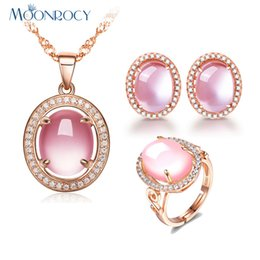 Gold Pink Rings For Women Australia - MOONROCY Rose Gold Color Oval CZ Crystal Ross Quartz Pink Opal Necklace Earrings and Ring Jewelry Set for Sweet OL Women Girls