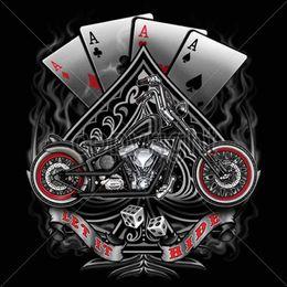 $enCountryForm.capitalKeyWord NZ - Biker T Shirts Vintage Bobber Motorcycle Chopper Gambler Aces Small To 6X & Tall Tee Shirt Men Male Best Deals Short Sleeve Thanksgiving Day