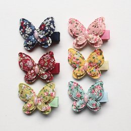 Animal Handmade Canada - 24pcs Lot Small Size Animals Hair Clips Pink Butterfly Hairpins Kids Handmade Girls Gift Colorful Cotton Barrettes Double Level