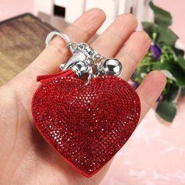 Heart Shaped Handbags Wholesale Australia - 1Pc Heart Shaped Crystal Rhinestone Handbag Keyfob Pendant Keychain Bag Keyring Key Chain