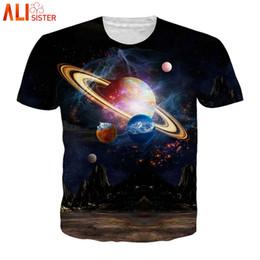 galaxy tees wholesale 2019 - Alisister Galaxy Space 3d T Shirt Men Women EUR Size Summer Funny Tees Planet Print Harajuku Beachwear Camiseta Hombre T
