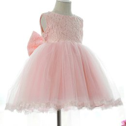 Children Straight Gown Styles UK - Party Dress Kids Girl Lace Flower Christening Wedding Dresses 1-10 ys Princess Baby Girls Bow Birthday Dress Costume 2018 Children Ball Gown
