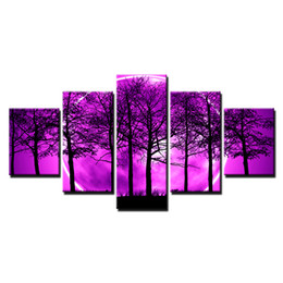 Chinese  HD Prints Canvas Room Home Decor Pictures 5 Pieces Purple Moon Night Psychedelic Forest Painting Wall Art Trees Poster Framework manufacturers