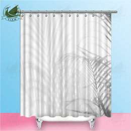wall curtains Australia - Vixm Abstract Background Of Shadow Palm Leaves On White Wall Shower Curtains Polyester Fabric Curtains For Home Decor