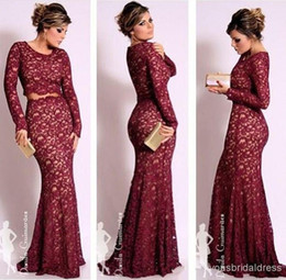 long sleeve embroidered prom dresses NZ - 2018 Long Sleeves Burgundy Lace Two pieces Evening Dresses Celebrity Mermaid Scoop Neck Vintage Floor Length Prom Formal Gowns